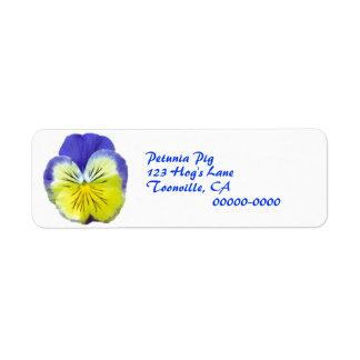 Yellow Blue Pansy Return Address Label
