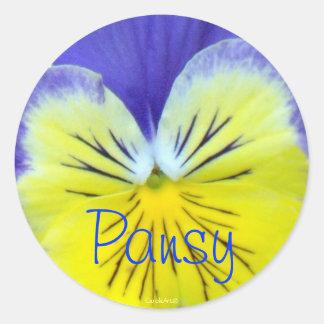 Yellow Blue Pansy Round Sticker