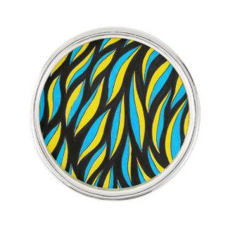yellow blue pattern lapel pin