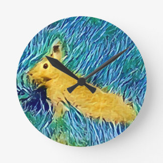 Yellow Blue Photomanipulation Painted Bunny Round Clock