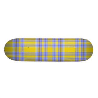 Yellow & Blue Plaid Skate Board Decks