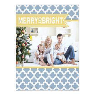 Yellow Blue Quatrefoil Holiday Flat Card Custom Invites