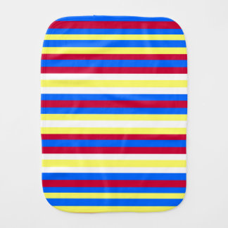 Yellow, Blue, Red and White Stripes Burp Cloth