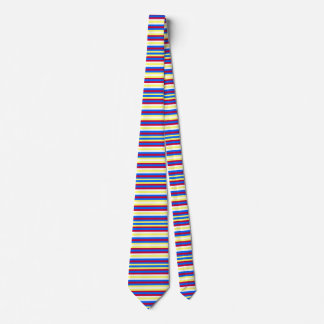 Yellow, Blue, Red and White Stripes Tie