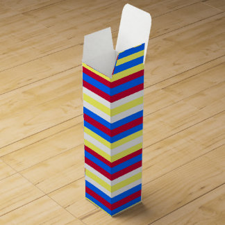 Yellow, Blue, Red and White Stripes Wine Gift Box