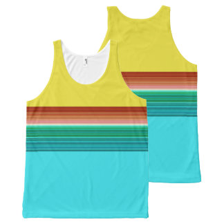 Yellow Blue Red Multicolor Striped Pattern All-Over Print Singlet