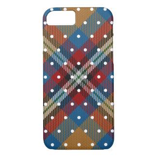 Yellow Blue Red Rust White Pin Dot Tartan Plaid iPhone 8/7 Case