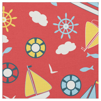 Yellow Blue Sailboats Fish Birds Red Nautical Fabric