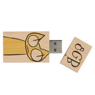 Yellow, Blue Staring Cats Wood USB Flash Drive