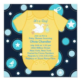 Yellow Blue Stork Baby Boy Shower 13 Cm X 13 Cm Square Invitation Card