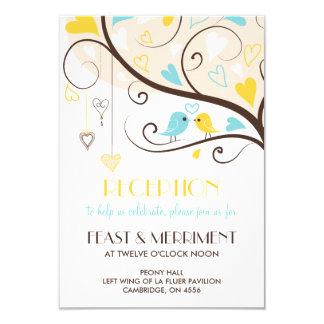Yellow & Blue Summer Lovebirds Reception Card