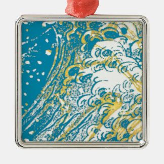 Yellow blue swirl waves Silver-Colored square decoration