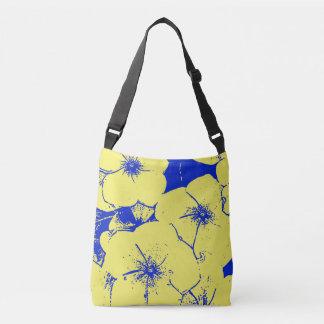 Yellow Blue Tropical Flowers Crossbody Bag