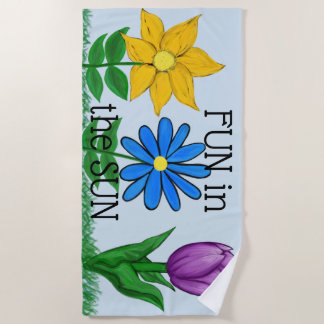 Yellow Blue Ultra Violet Floral Beach Towel