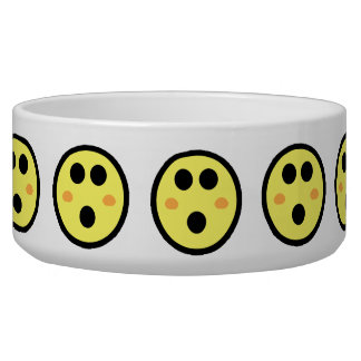 Yellow Blushing Smiley Face Pet Bowl