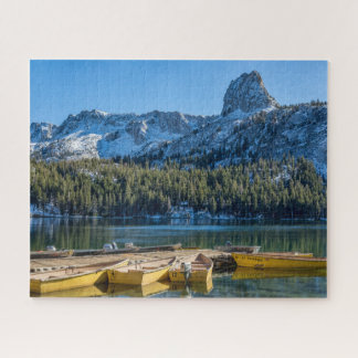 Yellow Boats Blue Mountains Jigsaw Puzzle
