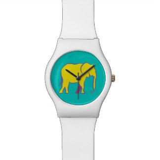 Yellow Bold Cartoon Elephant Stylish Vibrant Blue Watch