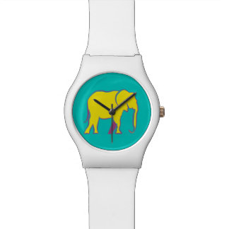 Yellow Bold Cartoon Elephant Stylish Vibrant Blue Wristwatches