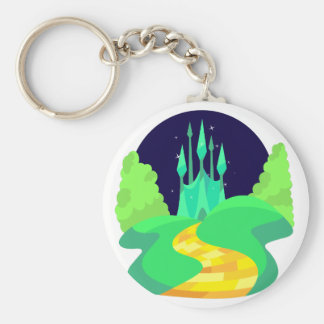 yellow brick road basic round button key ring