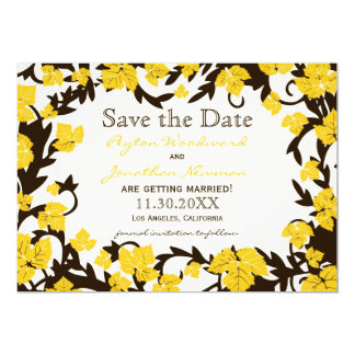 Yellow Brown Autumn Leaves Save the Date Card