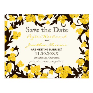 Yellow Brown Autumn Leaves Save the Date Postcard
