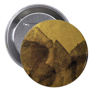 Yellow brown black abstract painting brush strokes 7.5 cm round badge