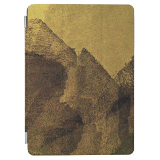 Yellow brown black abstract painting brush strokes iPad air cover
