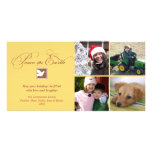 Yellow brown dove peace on earth holiday greeting photo card template