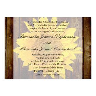 Yellow Brown Late Summer Sunflower Wedding 13 Cm X 18 Cm Invitation Card