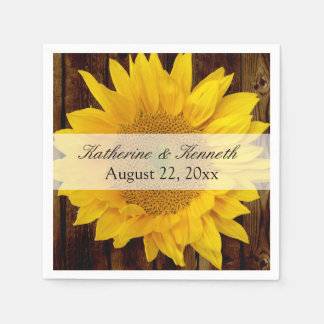 Yellow Brown Late Summer Sunflower Wedding Disposable Napkins