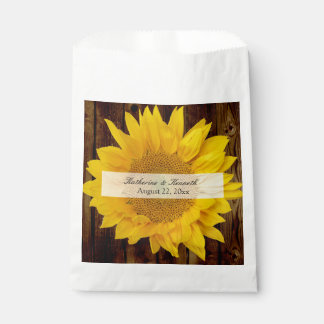 Yellow Brown Late Summer Sunflower Wedding Favour Bags