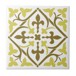 Yellow brown medieval style Ornament Ceramic Tile