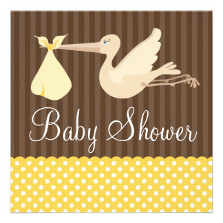 Yellow Brown Stork Dots Gender Neutral Baby Shower Personalized Invitation