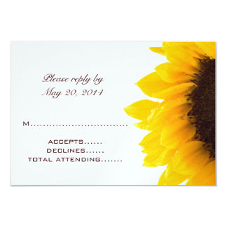 Yellow Brown Sunflower Wedding RSVP Cards 9 Cm X 13 Cm Invitation Card