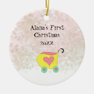 Yellow Buggy Babys First Christmas Ceramic Ornament