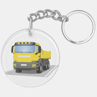 yellow building sites truck Double-Sided round acrylic key ring