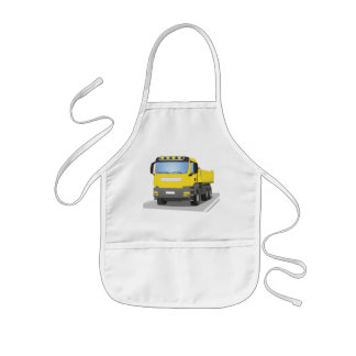 yellow building sites truck kids apron