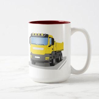 yellow building sites truck Two-Tone coffee mug