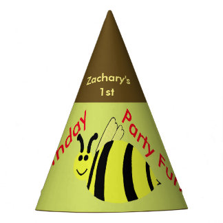 Yellow Bumble Bee Personalized Birthday Hats