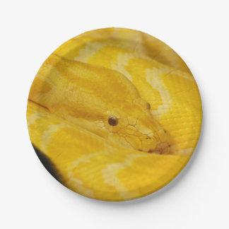 Yellow Burmese Python 7 Inch Paper Plate