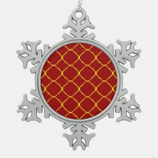 Yellow & Burnt Red Quatrefoil Pewter Snowflake Decoration