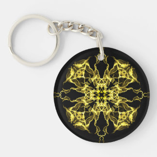 Yellow Burst Abstract Doublesided Keychain