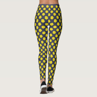 Yellow Buttercup Flowers on Navy Blue Leggings
