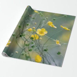 Yellow buttercups flowers wrapping paper
