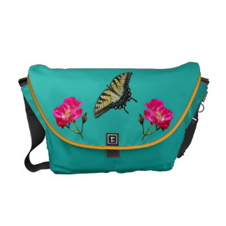 Yellow Butterflies and Pink Roses Commuter Bag