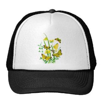 Yellow Butterflies and Yellow Wildflowers Mesh Hat