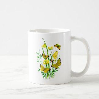 Yellow Butterflies and Yellow Wildflowers Coffee Mug