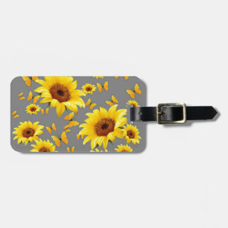 YELLOW BUTTERFLIES LOVE SUNFLOWERS LUGGAGE TAG