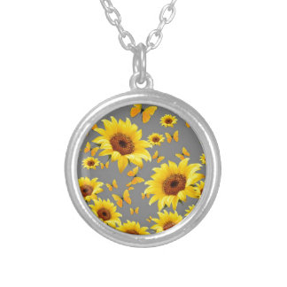 YELLOW BUTTERFLIES LOVE SUNFLOWERS SILVER PLATED NECKLACE