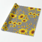 YELLOW BUTTERFLIES LOVE SUNFLOWERS WRAPPING PAPER